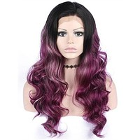 Long Mixed Reddish Purple Ombre Wave Synthetic Lace Front Wig
