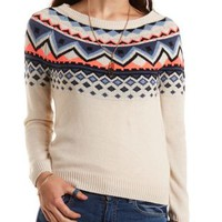 Geometric Print Pullover Sweater by Charlotte Russe - Ivory Combo