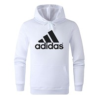 ADIDAS Tide brand classic print comfortable wild hooded hoodie White
