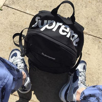 SUPREME Letters mass sports leisure backpack bag skateboard Black