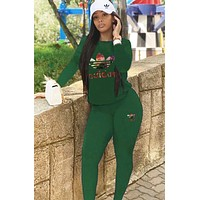 A Adidas New fashion multicolor letter leaf print long sleeve top and pants two piece suit Green