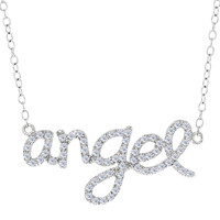 Angel Logo With Cz Necklace In Rhodium Plated Sterling Silver - 18 Inches