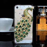 """iPhone 6 Plus Case, MC Fashion Peacock Crystal Rhinestone 3D Diamante Hard Shell Phone Case Compatible for Apple iPhone 6 Plus 5.5"""" (2014) ONLY (Green)"""