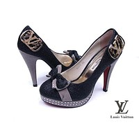 Louis Vuitton LV Bow Trending Ladies Leopard Print Heels Shoes I