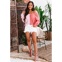 Young Hearts V-Neck Color Block Sweater (Pink/Coral)