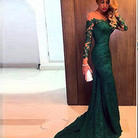 Long Sleeve Prom Dresses, Green Evening Dresses, Formal Prom Dress