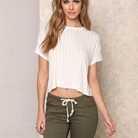Ivory Ribbed Knit Hi-Lo Crop Top
