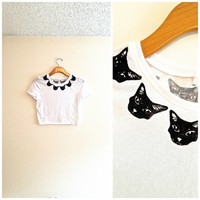 white and black cat head crop top, collared shirt, hipster shirt, tshirt, teen girl apparel, cat blouse, gift for cat lover, crazy cat lady