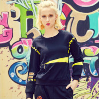 Fashion Embroidery Letter Stitching Gradient Color Irregular Sweater