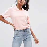 adidas Originals Pink Three Stripe Polo Neck T-Shirt at asos.com