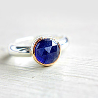 Blue Rose Cut Sapphire Ring 14k Yellow Gold Sterling Silver Sapphire Engagement Ring Size 6-7 Mixed Metals Silversmith Goldsmith