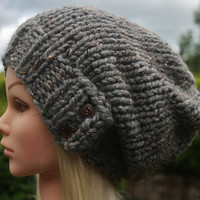 Hand Knit Hat Women's hat- Rustic Mega Chunky with wool- slouchy beanie hat- slate tweed with 2 dark coconut buttons