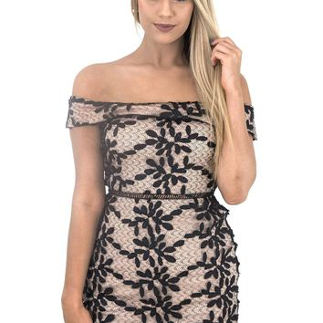 Women's Off the Shoulder Sheath Dress with Black Lace Overlay