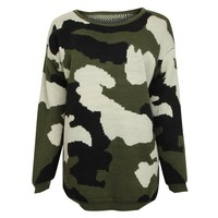 ZLYC Women Fashion Army Green Camouflage Print Casual Jumper Sweater Pullover