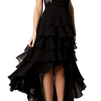 Black Strapless Ruffle High Low Chiffon Dress