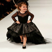 2016 Black Flower Girl Dresses High Low Scoop Long Sleeves Floor Length Satin Tulle Ball Gown Kids Wedding Party Dresses