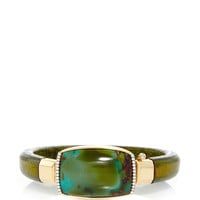 18K Gold and Green Leather Bracelet with Turquoise and Diamonds