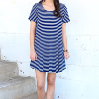 Feeling Fine Striped Dress {Navy}