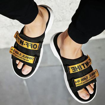 More Letters Two Line Men Slippers B-CSXY  Black+Gold