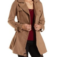 Pleated Wool Trench Coat by Charlotte Russe - Camel