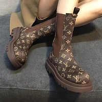 LV Louis Vuitton Martin boots in the tube net red print plus velvet short boots thick bottom thin single boots Shoes