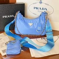 Prada Adjustable length shoulder strap bag crossbody bag blue