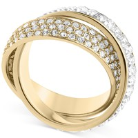 Michael Kors Ring, Gold-Tone Pave and Baguette Criss-Cross Band Ring