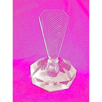 Vintage Lead Cut Crystal Paperweight Perfume Bottle Art Deco Bubble 7.5 Tall