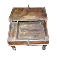 Antique Wooden Munim Chest From India