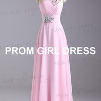 A-line One-Shoulder  Beading Chiffon Prom Dress / Evening Dress