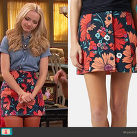 Liv's floral skirt and denim shirt on Liv and Maddie