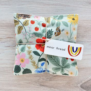 Organic Lavender Sachets in Mint Strawberry Fields- Set of 2