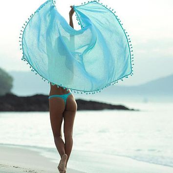Hot sale European and American fringed beach towel sunscreen clothing shawl seaside holiday apron blue