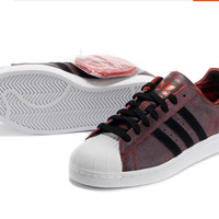 """Adidas"" Fashion Shell-toe Flats Sneakers Sport Shoes Red brown"