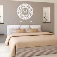 Monogram Ornate Round Damask Vinyl Wall Decal Style C Shabby Chic Frame 22382