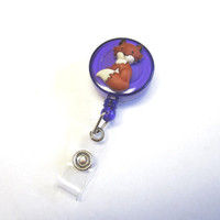 Fox Retractable ID Badge Reel Forest Animal Nurse Teacher Name Tag Holder