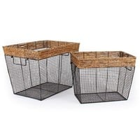 Set of 2 Rectangular Wire and Straw Baskets With Handles