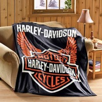 Harley Davidson Fleece Throw Blanket By Collections Etc