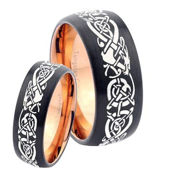 His Hers Celtic Dragons Dome Tungsten Rose Gold Mens Wedding Band Set