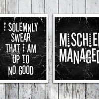 Harry potter quote art Mischief managed poster print Typography Print Kids room decor Giclee print Solemnly swear art print Typographic art