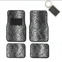 A Set of 4 Universal Fit Animal Print Carpet Floor Mats for Cars / Truck and 1 Key Fob - Snow Leopard