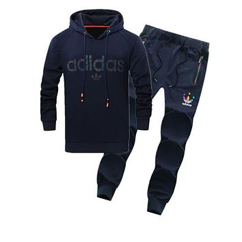 Adidas Women Men Fashion Casual Hooded Cardigan Jacket Coat Pants Trousers Set Two-Piece