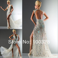 Custom Made A Line Floor Length Court Train Cap Sleeve Sexy V Neck with Crystal Open Back Slit Long Prom Dress 2014 New Design-in Prom Dresses from Apparel & Accessories on Aliexpress.com | Alibaba Group