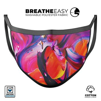 Blurred Abstract Flow V9 - Made in USA Mouth Cover Unisex Anti-Dust Cotton Blend Reusable & Washable Face Mask with Adjustable Sizing for Adult or Child