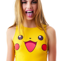 O Mighty Pikachu Crop Tank Yellow