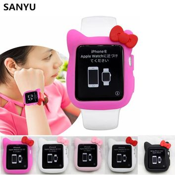 SANYU Lovely Hello kitty Bow Cat Ears Silicone Case For Apple Watch iwatch Rubber Series 3 2 1 Case Cover 38mm 42mm Girl Kid