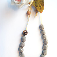 Fabric beads necklace cream beige