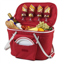 Collapsible Insulated Picnic Basket for Two | Red
