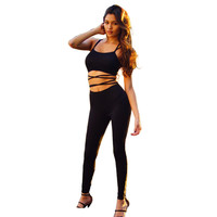 Black Strappy Cutout Bodycon Cropped Top and Pants