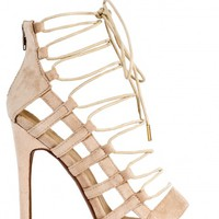 ON A LEVEL NUDE SUEDE LACE UP CAGE HEEL